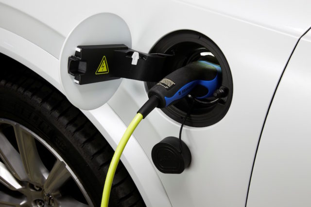 Close-up of the cable connection in the new Volvo XC90 T8 Twin Engine petrol plug-in hybrid in Tarragona, Spain