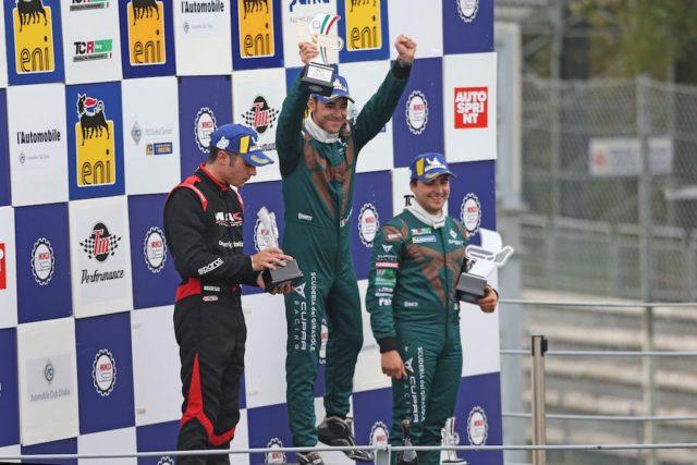Podio gara 2 Matteo Greco (Sc. del Girasole - Cupra Racing,Cupra TCR SEQ #34)Jacopo Guidetti (BF Motorsport,Audi RS3 LMS SEQ TCR DSG#71) Eric Scalvini (Sc. del Girasole - Cupra Racing,Cupra TCR DSG #19)